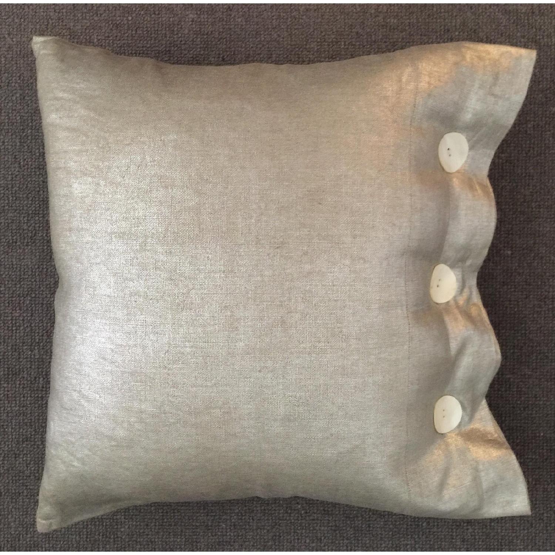 Modern Luxe Metallic Linen Pillow - image-1