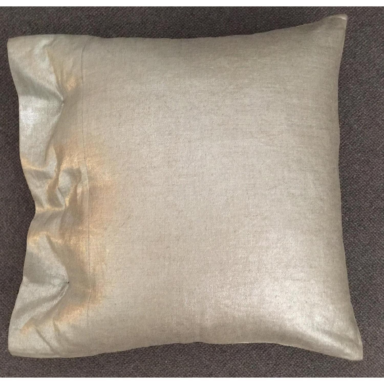 Modern Luxe Metallic Linen Pillow - image-4