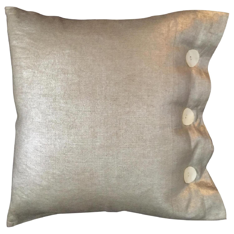 Modern Luxe Metallic Linen Pillow - image-0