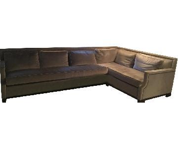 Holly Hunt Dark Gray Velvet Sectional Sofa w/ Nailheads