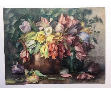 19th Century Amy Cross Original Watercolor Painting