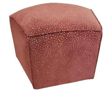 Pink Velvet Leopard Ottoman