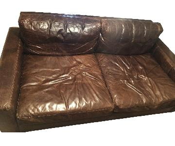Restoration Hardware Maxwell Leather Lux Down Feather Sofa