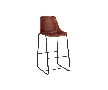 CB2 Leather Roadhouse Barstools