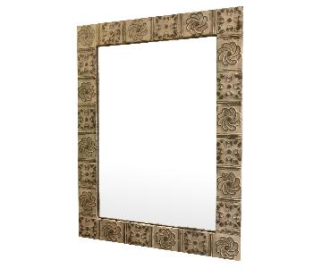 Olde Good Things White/Silver Tin-Pressed Oversized Mirror