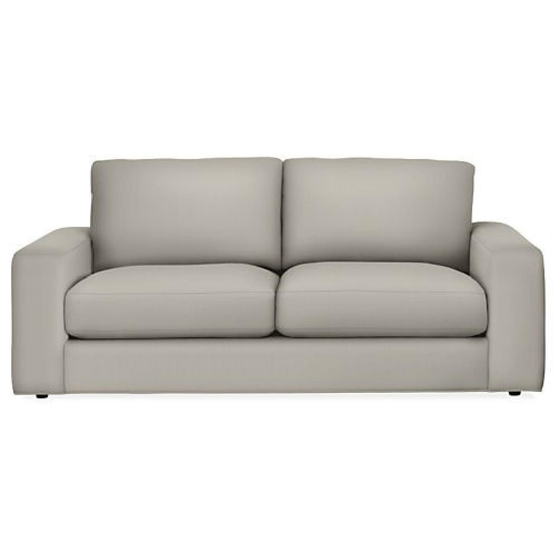 Room & Board Light Grey Velvet 2 Seat Sofa