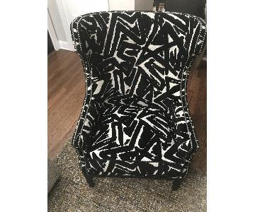 Wesley Hall Custom Black Velvet & Beige Fabric Chairs