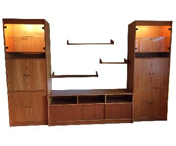 3 Piece Teak Entertainment Wall Unit w/ 3 Shelves