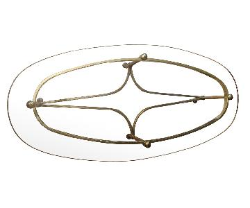 Oval Glass Top Coffee Table w/ Golden Legs