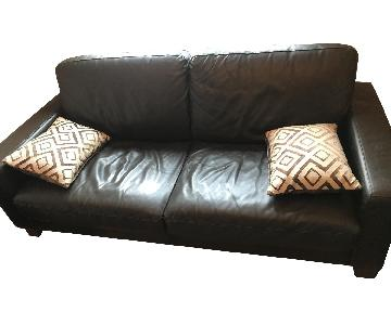 Natuzzi Brown Leather Sofa