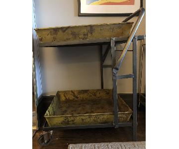 Arhaus Antique Metal Two Level Bar Cart
