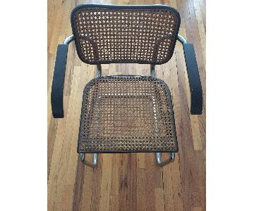 Vintage Early 1970s Breuer Cane Arm Chairs