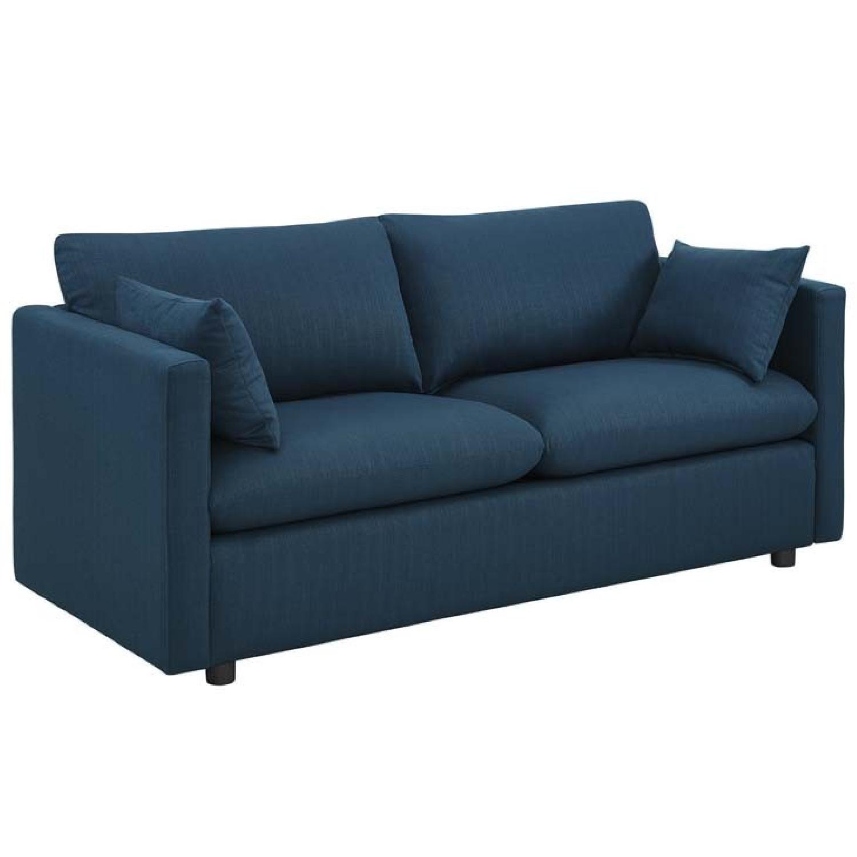 Manhattan Home Design Upholstered Fabric Sofa in Azure