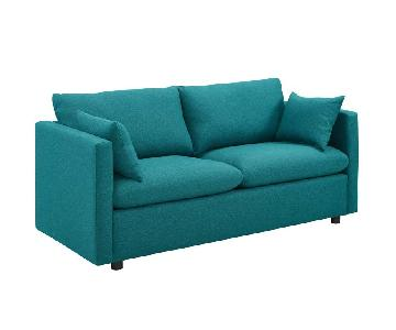 Manhattan Home Design Upholstered Fabric Sofa in Teal