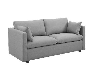 Manhattan Home Design Upholstered Fabric Sofa in Gray