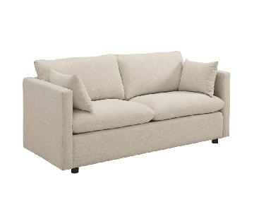 Manhattan Home Design Upholstered Fabric Sofa in Beige