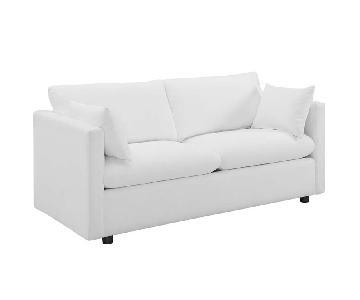 Manhattan Home Design Upholstered Fabric Sofa in White