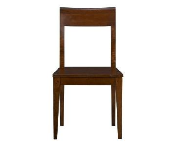 Crate & Barrel Cabria Honey Brown Wood Dining Chairs