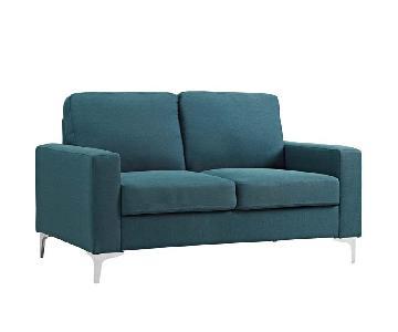 Manhattan Home Design Allure Upholstered Sofa in Blue