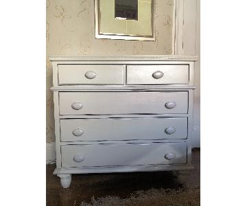 Handpainted Off White Dresser w/ Lavender & Grey Detail