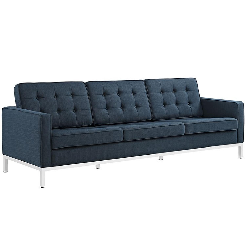 Manhattan Home Design Loft Fabric Sofa in Blue