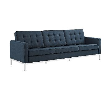 Manhattan Home Design Loft Fabric Sofa in Blue