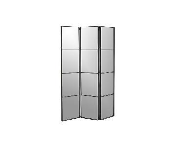 CB2 Black Quilted Room Divider Mirror