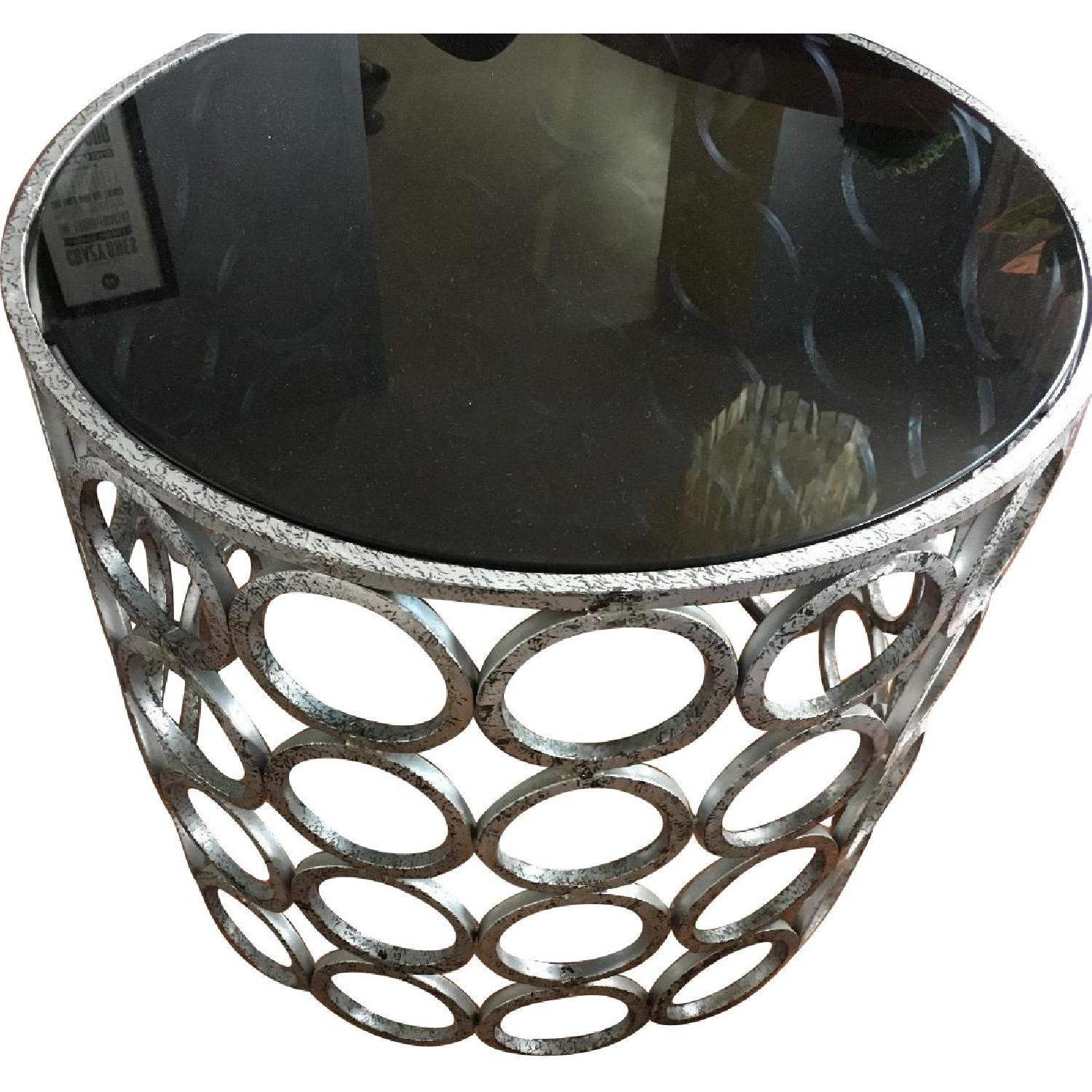 Round Glass Silver Circles Base Table w/ Glass Top