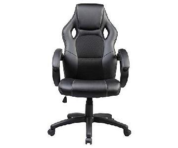 Race Car Style Black Leather Executive Swivel Office Chair