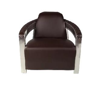 17 Stories Leather & Chrome Aviator Chair