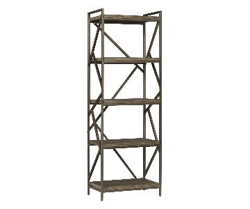 InspireQ Lincoln Metal Distressed Bookcase