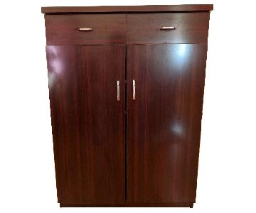 Shoe Cabinet in Dark Brown Finish w/ 2 Utility Drawers