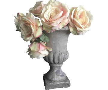 Concrete Vase w/ 12 Artificial Pink Roses