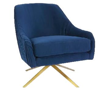 West Elm Navy Velvet Accent Chair