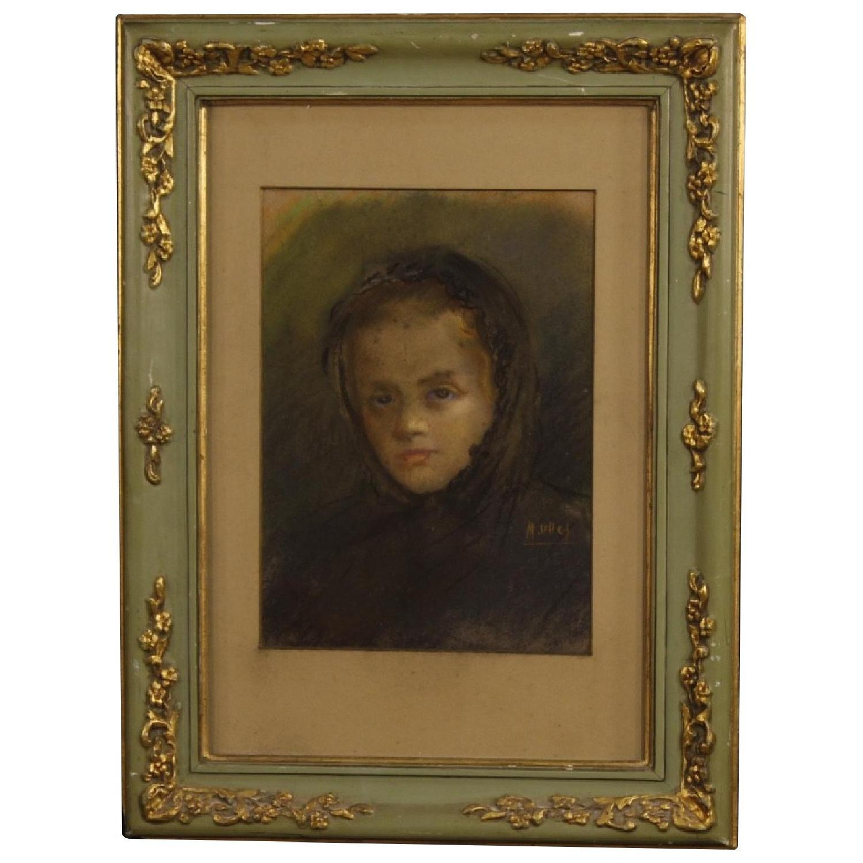 20th Century Tempera Spanish Signed Portrait Painting