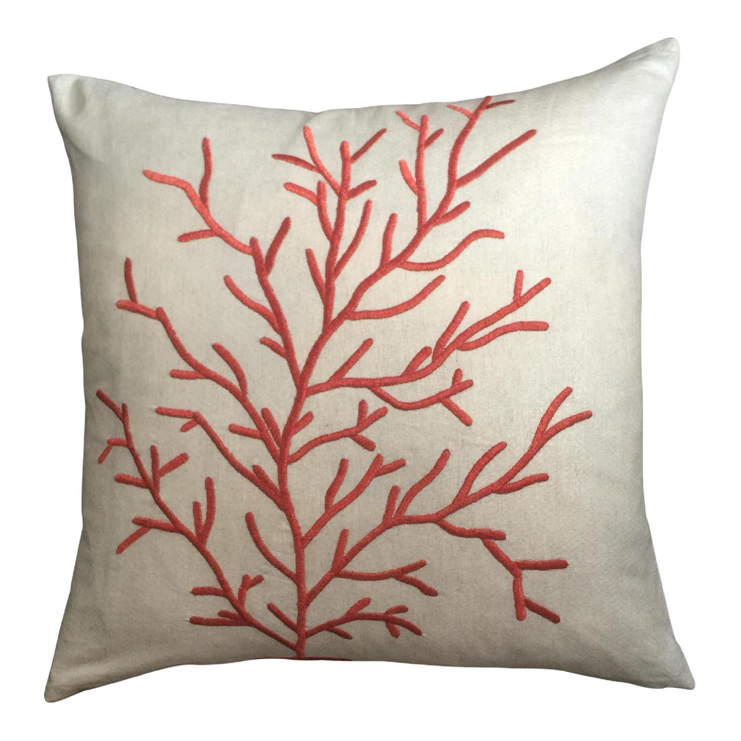 Coastal Coral Embroidered Pillow - image-0