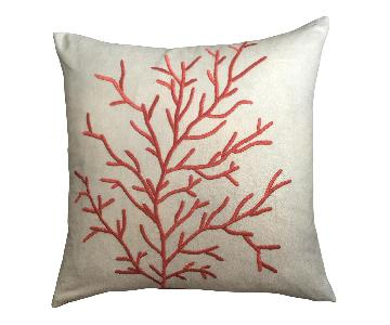 Coastal Coral Embroidered Pillow