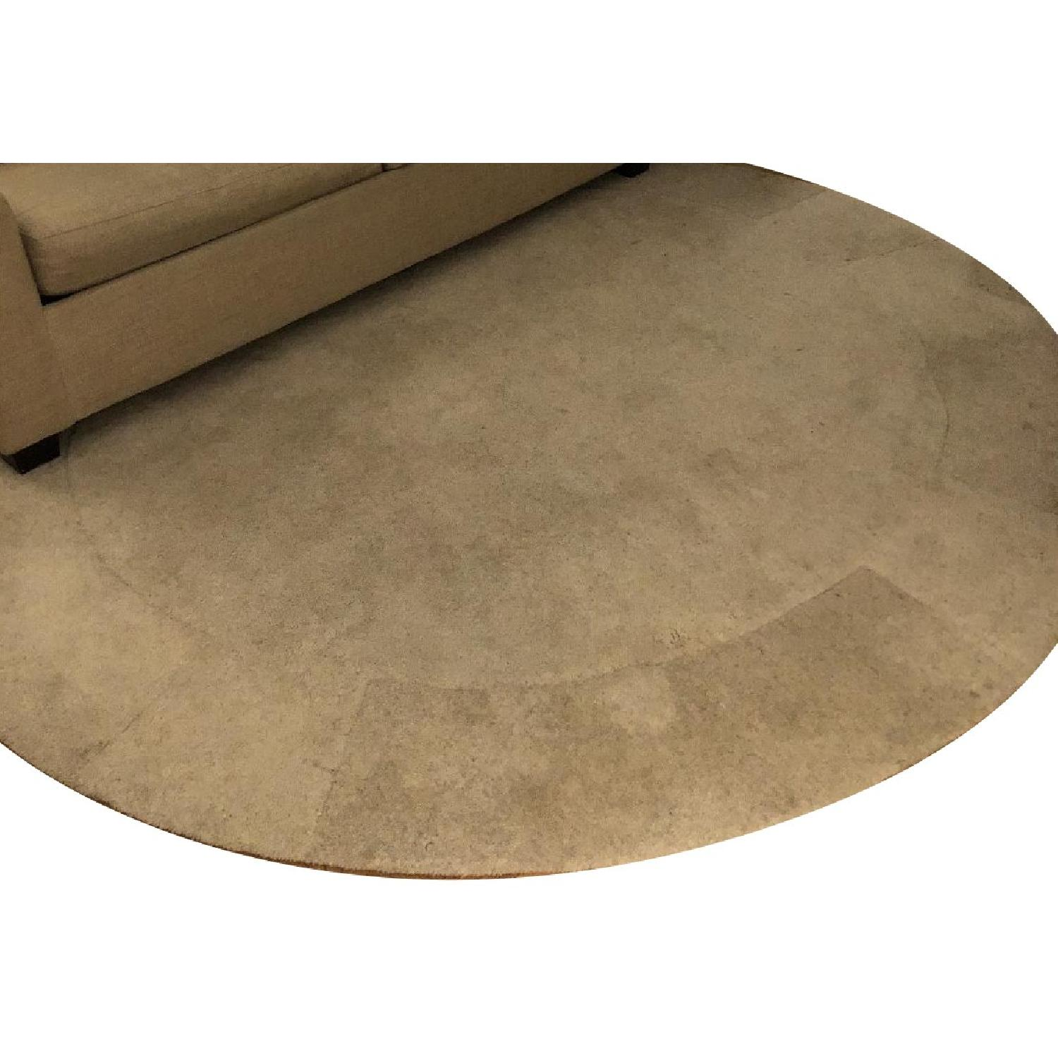 ABC Carpet and Home Circular Wool Rug w/ Geometric Embossing
