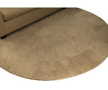 ABC Carpet and Home Circular Wool Rug w/ Geometric Embossing