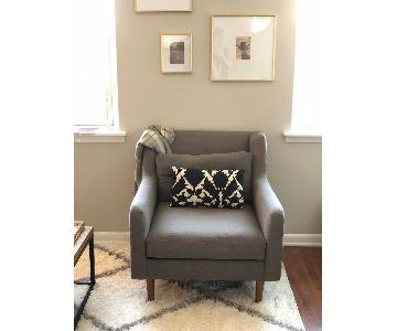 West Elm Crosby Armchair in Pebbleweave Shale Fabric