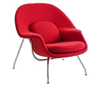 Knoll Mid Century Style Accent Womb Chair in Red Wool