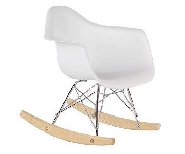 White Mid Century Rocking Chair