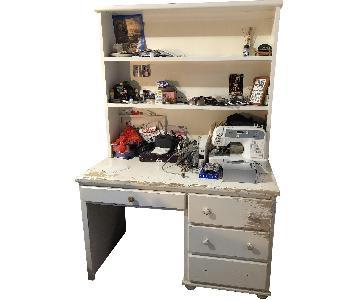 Wood Desk w/ Hutch