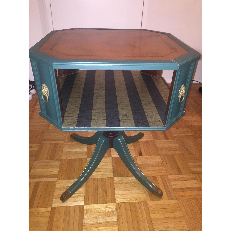 Antique Dark Green Side Table-0