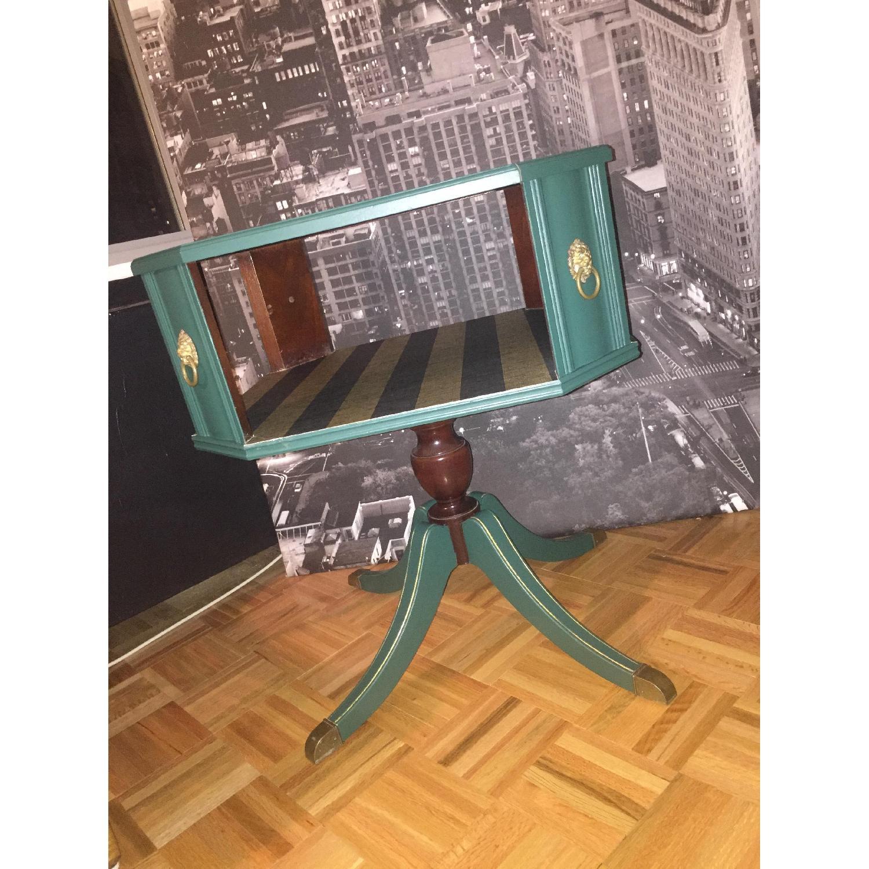 Antique Dark Green Side Table-7