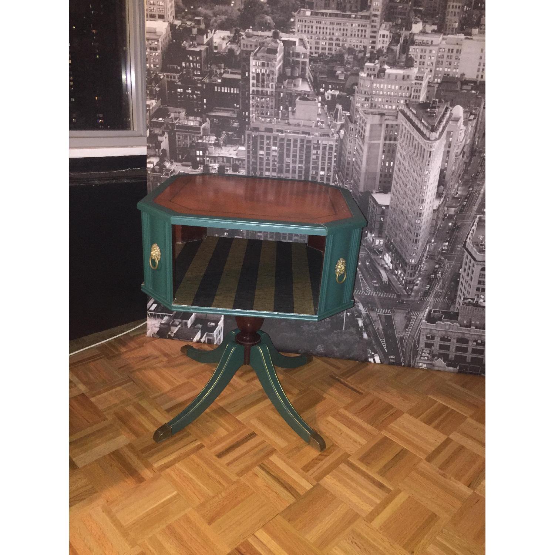 Antique Dark Green Side Table-8