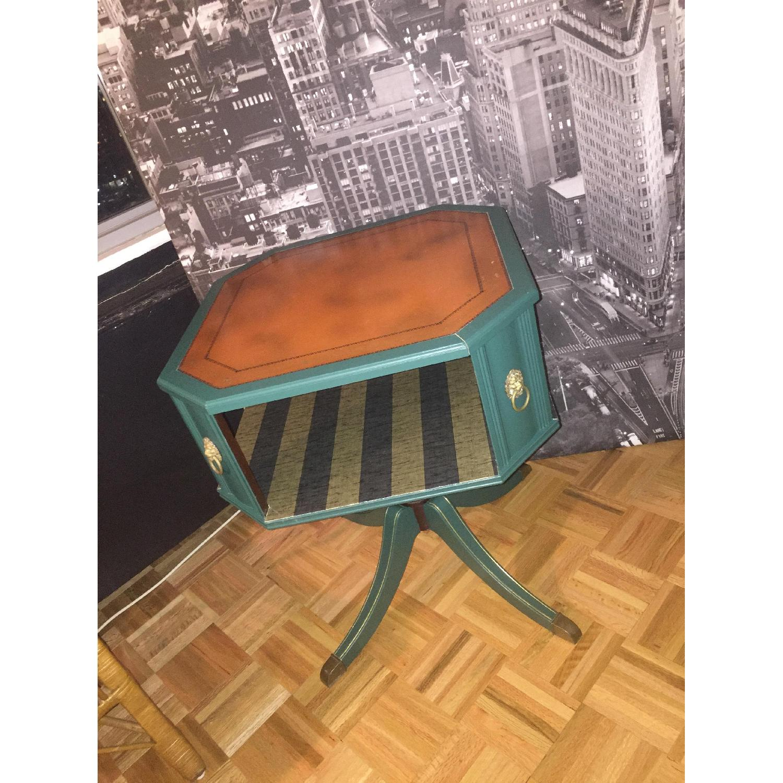 Antique Dark Green Side Table-9
