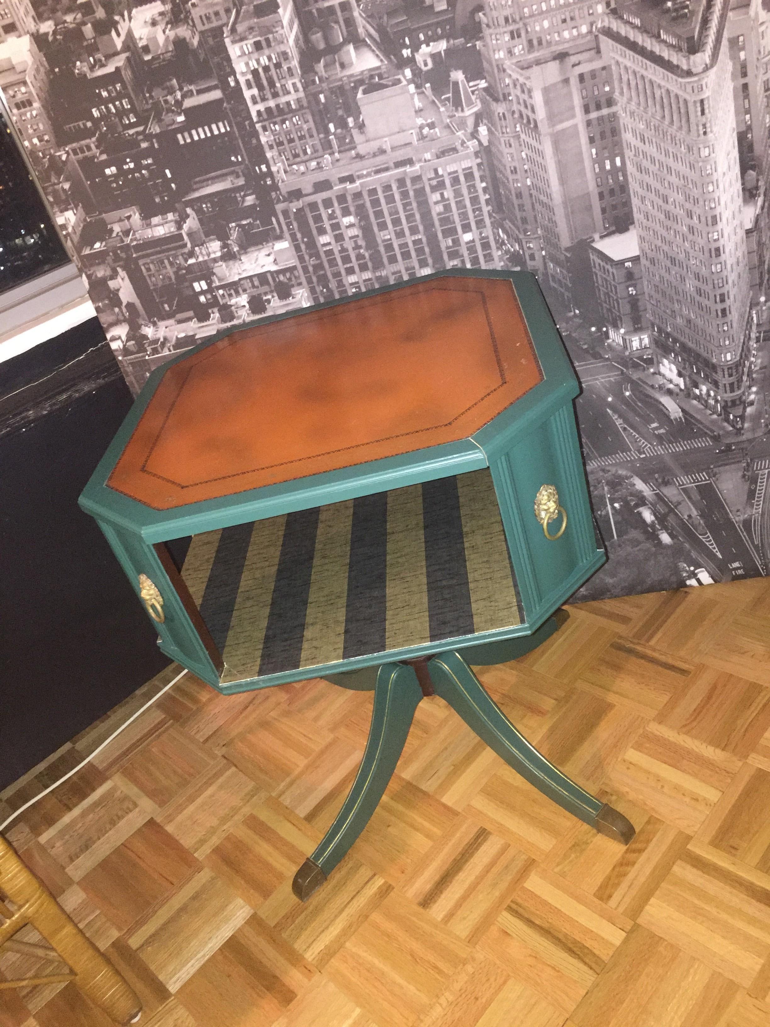 Antique Dark Green Side Table