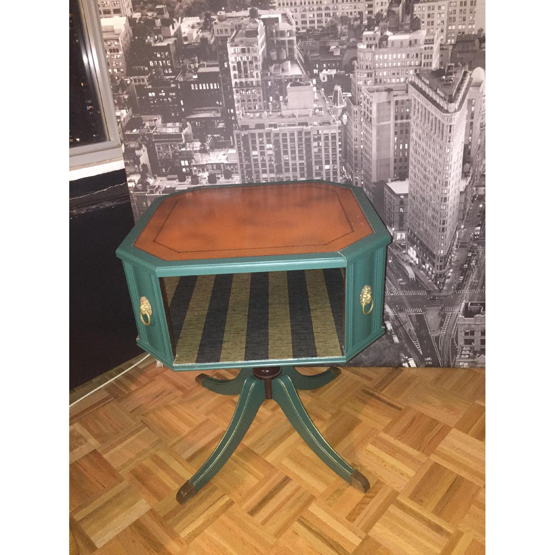 Antique Dark Green Side Table-10