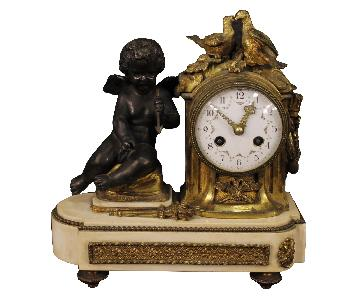 20th Century Gilt Bronze, Brass, Metal, Marble Italian Clock